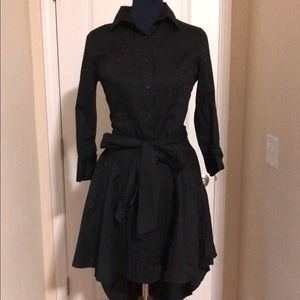 Black hi-low long sleeved dress